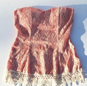 January 7 Pink Strapless Top Lace Overlay